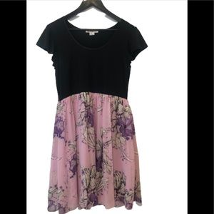 Kensie black and purple silk floral print dress